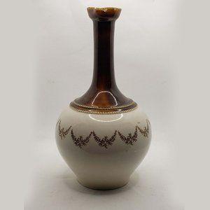 Vintage Ceramic Glazed Tall Neck Vase Mid Century